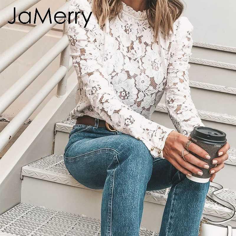 JaMerry Vintage zarif kadın beyaz dantel bluz seksi kadın ofis gömlek şık puf kollu ekip boyun iş elbisesi tops