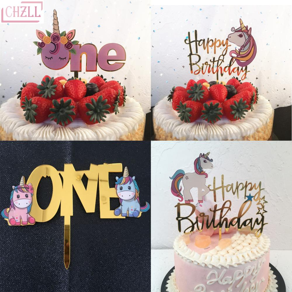 CHZLL Unicorn Cake Topper Wedding Cupcake Decoration Baby Shower Decor Happy Birthday Party Supplies Baby Unicornio Party Decor