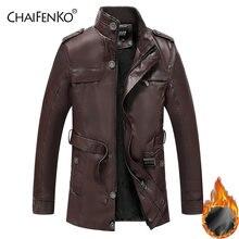 Chaifenko зимняя Флисовая теплая мужская кожаная куртка мотоциклетная