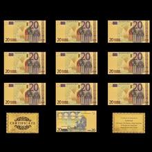 10 Uds. Chapados en oro de billetes, réplica de papel, colección de dinero