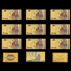 10 шт., Реплика банкнот евро 20 с золотым покрытием, сбор бумажных денег