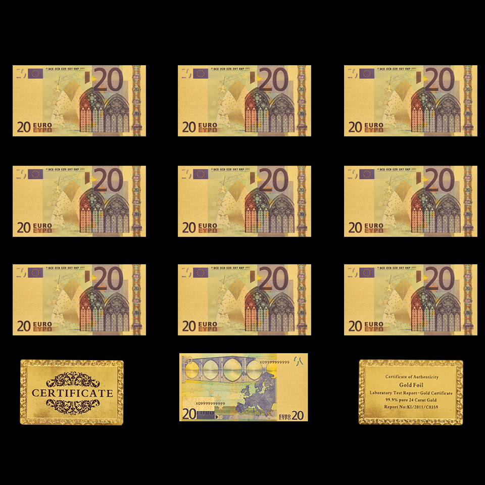 10PCS <font><b>Banknote</b></font> <font><b>Euro</b></font> <font><b>20</b></font> Gold Plated <font><b>Banknote</b></font> Replica Paper Money Collection image