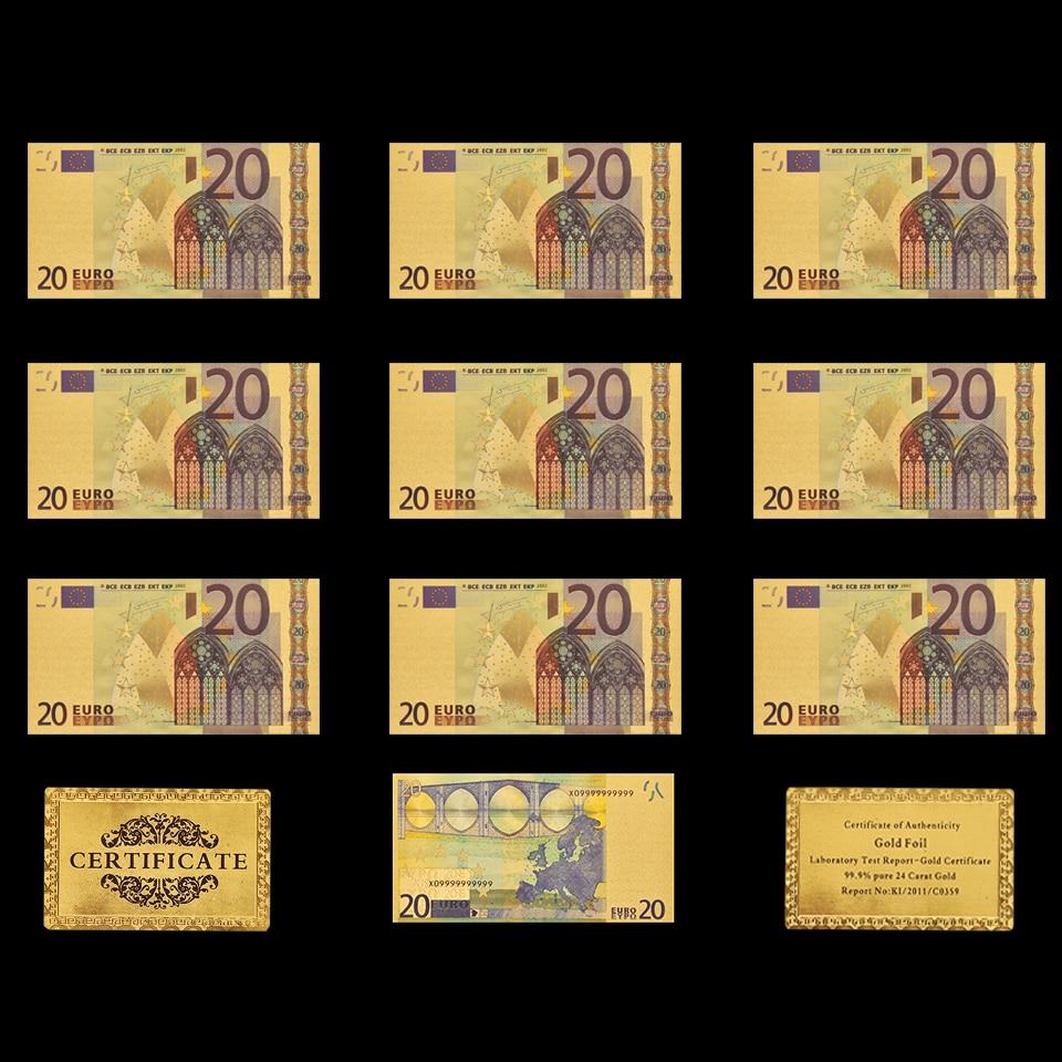 Billete Euro 20 DE 10 Uds., réplica de billete de 20, chapado en oro, colección de dinero de papel