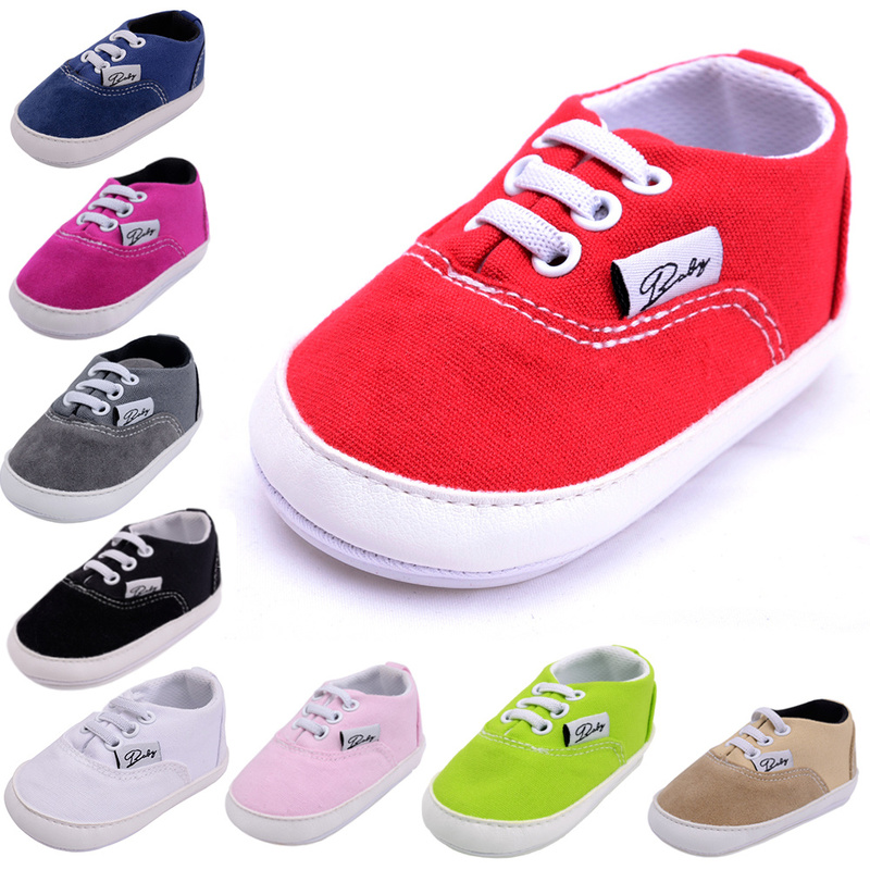 Infant Baby Boy Girl Shoes Sneaker Cotton Fabric Canvas Rubber Sole Soft Newborn Toddler First Walkers Baby Crib Shoes Girl