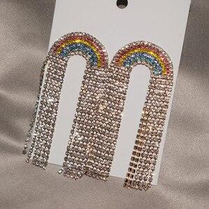 Женские Разноцветные серьги-подвески, разноцветные стразы, ювелирное украшение для девочек, эффектные украшения