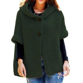 Women Knitted Hooded Cardigan Sweater 2020 Winter Autumn rose green Warm Loose Outwear Knitwear Coat pull femme nouveaute 2020 army green loose fit hooded outwear