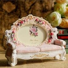 Europa Retro Vintage sofá foto marco resina Rosa flor foto marco boda hogar Decoración regalo cama ornamento artesanía