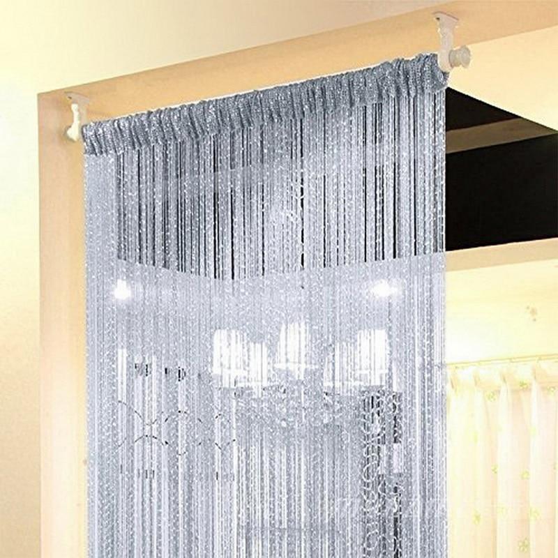 Urijk 100x200cm Shiny Tassel Flash Silver Line String Curtain Window Door Divider Sheer Curtain Valance Door Treatment Home
