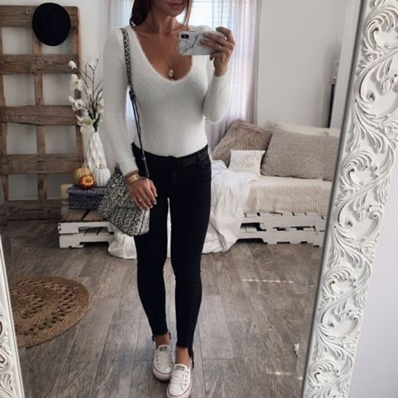 Z długim rękawem czarne Body V Neck Casual wiosenna zimowa biała obudowa seksowny Top kobiety 2021 Body Streetwear