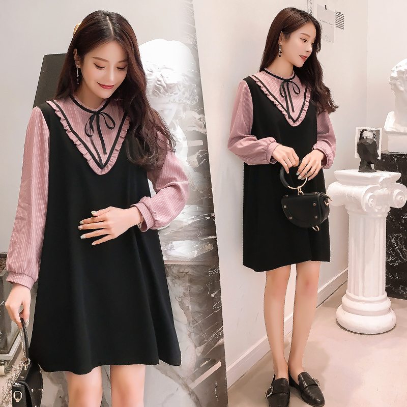 9387# 2021 Spring Korean Fashion Patchwork Maternity Blouses Sweet Loose Shirt Clothes for Pregnant Women Chic Pregnancy Tops