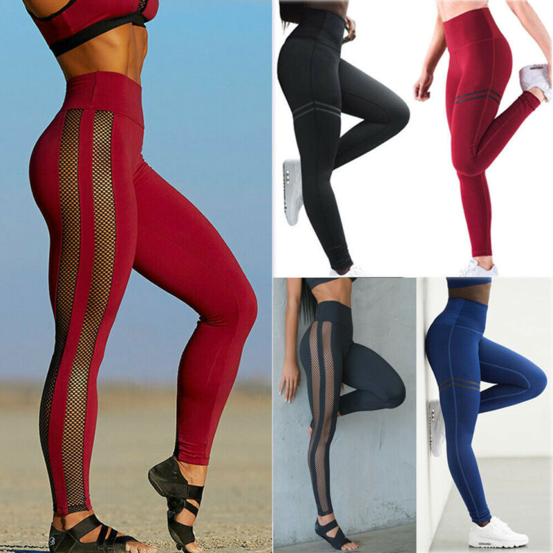 Womens Ladies Sports Yoga Pants Workout Gym Fitness Leggings Stretch Trousers US