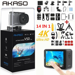 AKASO V50 Pro natywna kamera akcji 4 K/30fps 20MP WiFi 4K z ekranem dotykowym EIS regulowany kąt widzenia 30m wodoodporna kamera|Kamera sportowa|   -