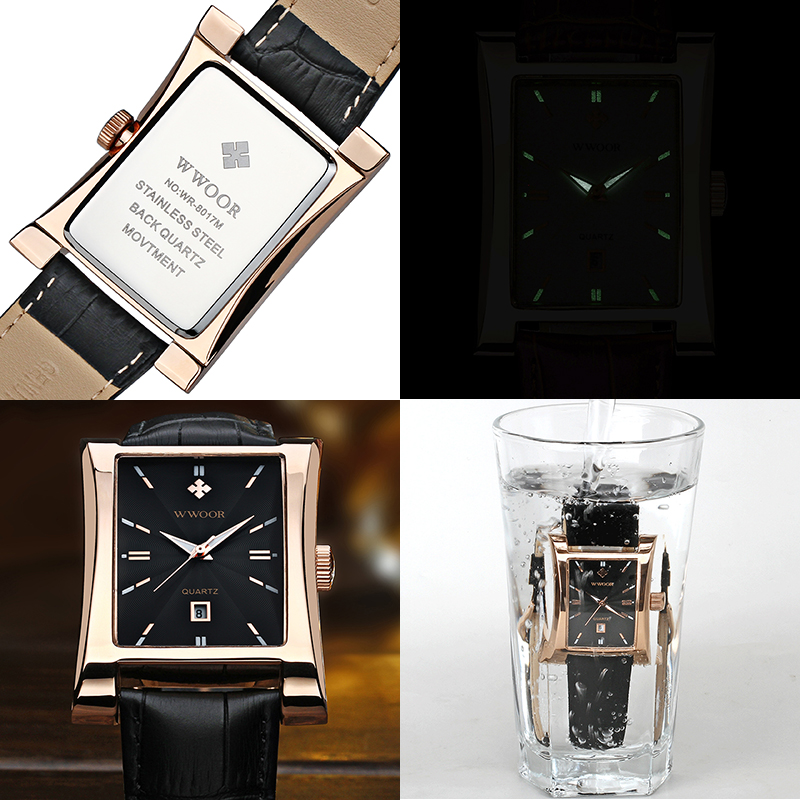 WWOOR Watch Men Top Brand Luxury Gold Black Square Watches For Men Leather Waterproof Date Clock Business Quartz Wrist Watch Box 6