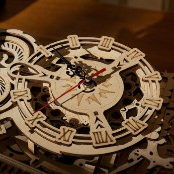 Robotime Rokr 161pcs Creative DIY 3D Owl Clock Wooden Model Building Block Kits Assembly Toy Gift for Children Adult LK503 6
