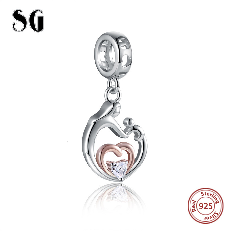 925 Sterling Silver Mom and Son Heart Pendant beads heart CZ Charm fit Pandora Bracelet for Women mother's Jewelry Gift