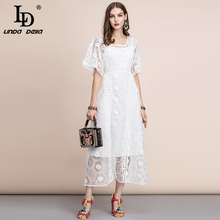 LD LINDA DELLA Summer Elegant White Dress Womens Gorgeous Lace Floral Embroidery Hollow out A Line Midi Party