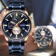 Curren relógios masculino moda esportes relógio de pulso com cronógrafo luminoso mãos relógio masculino azul aço inoxidável banda