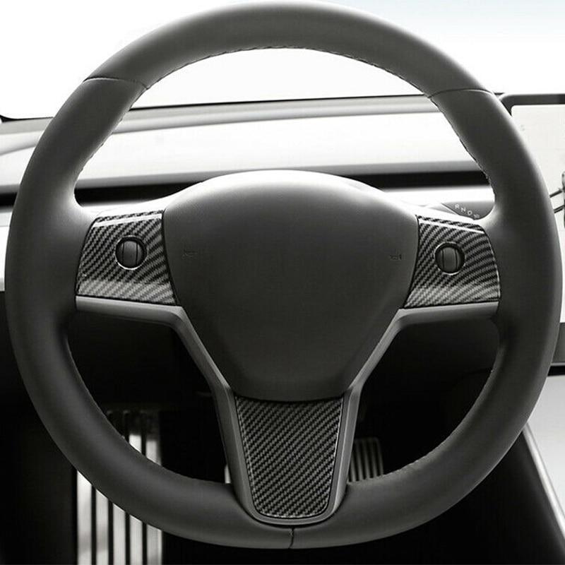 For Tesla Model 3 Wheel Steering Panel Cover Trims Carbon Fiber Fit 2018-2019