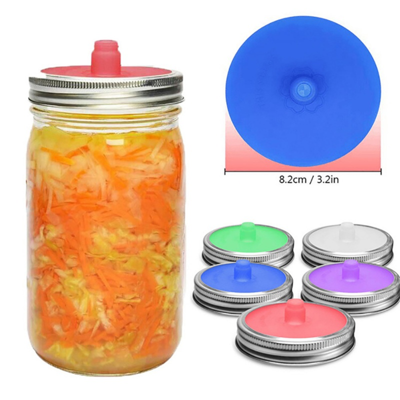 Wide Mouth Mason Jar Lids Silicone Lids With Sealed Ring Waterless Airlock Fermentation Lids For Sauerkraut Kimchi Pickles