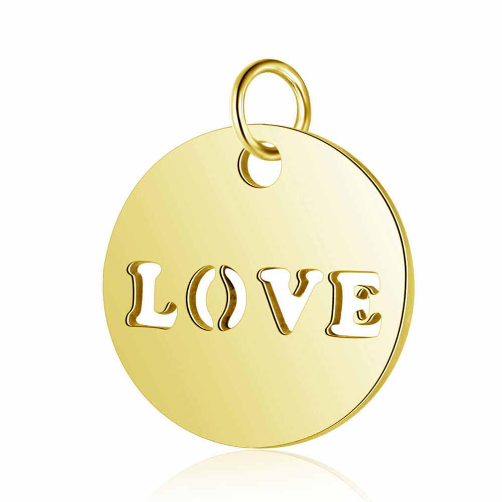 5 шт./лот, нержавеющая сталь, розовое золото, сталь, круглые полые буквы, любовь, подвески, подвески для DIY, для изготовления украшений вручную