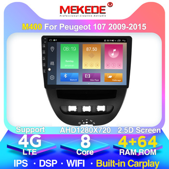 MEKED PX6 9853 4G LTE 8 Core Android 10.0 Car Gps Navigation Multimedia Player For Peugeot 107 2009-2015 Wifi GPS Radio BT image