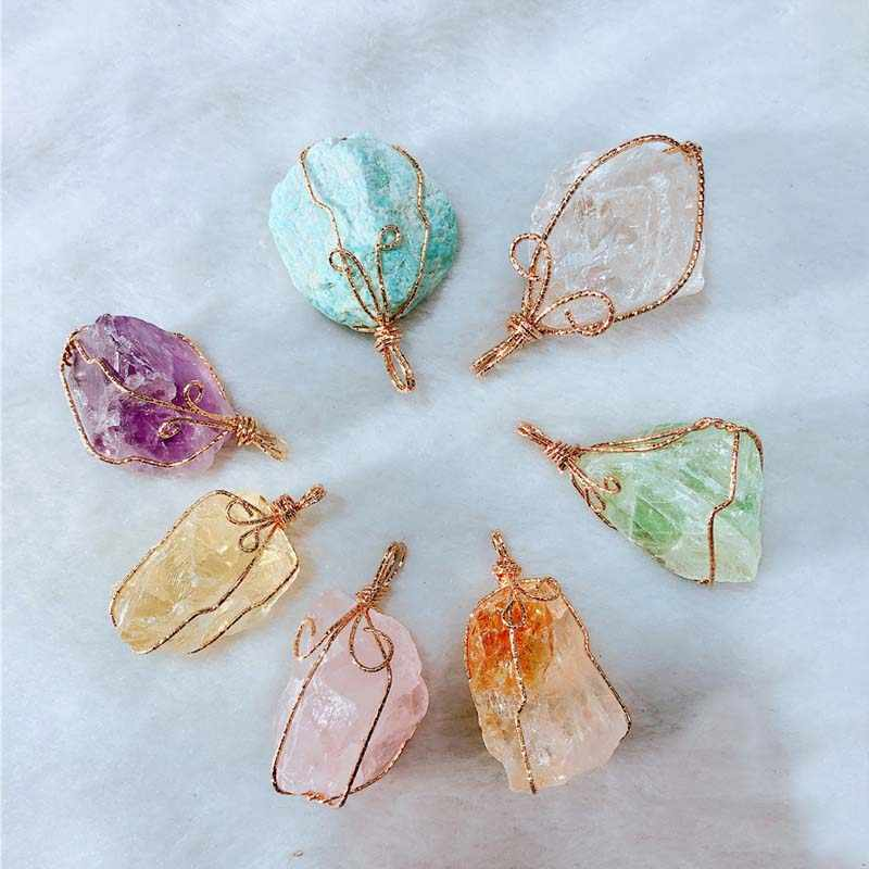 Natural Crystal Irregular Stone Quartz Chakra Rock Pendant For Women Female Jewelry Making DIY Decoration Gift Hot Gift