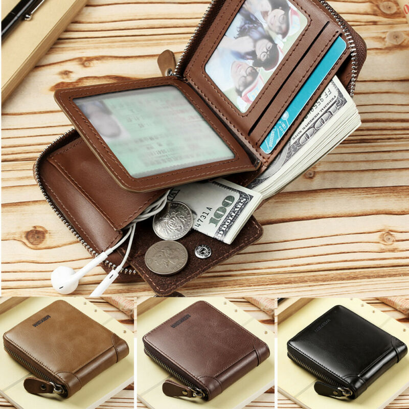 MENS HIGH QUALITY LUXURY SOFT BLACK LEATHER WALLET CREDIT CARD HOLDER COIN POUCH