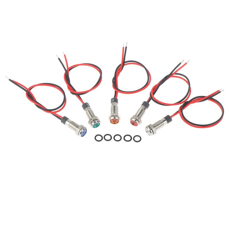 IP67 Waterproof LED Metal Warning Indicator Light 6mm Pilot Signal Lamp 3v-6v/12-24V /220v Red Yellow Blue Green White