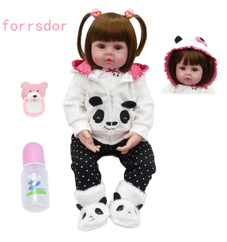 47cm soft silicone bebe reborn doll baby girl cute little panda clothes best children birthday Christmas gift bebe reborn doll bebe reborn doll silicone reborn reborn baby dolls lol doll brinquedos boneca reborn christmas gift for girl birthday npk
