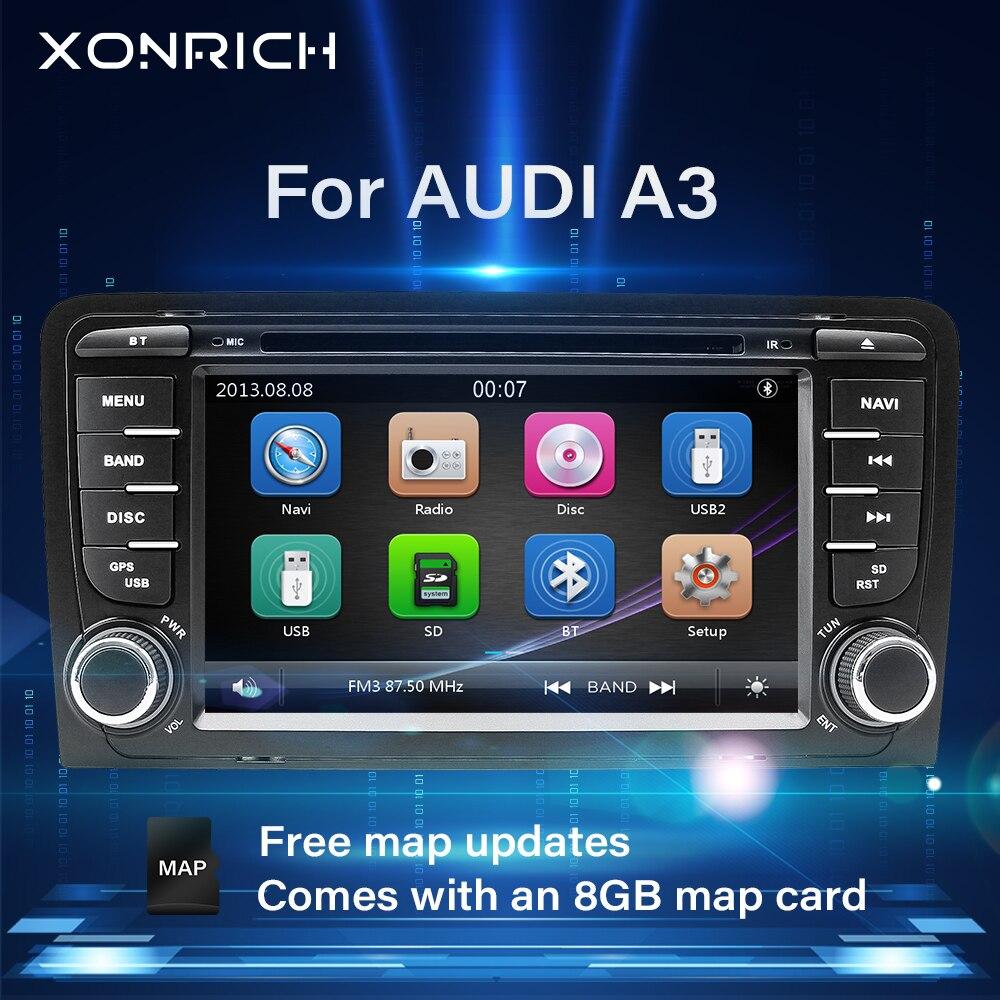 Автомагнитола 2 din с DVD плеером, головное устройство для Audi A3 8P 2003 2012 S3 2006 2012 RS3 Sportback, мультимедиа, GPS навигация, стерео BT