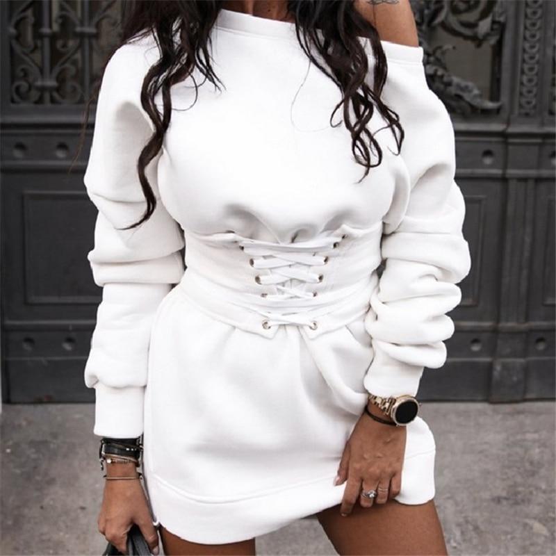 Women Sweatshirts Dress Long Sweatshirt Streetwear Fashion Long Sleeve Sweatshirt Korean Pullover Sweatshirt With Fleece 2020