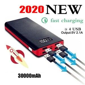 Gorąca sprzedaż 30000mAh Power Bank 4 Port wyjściowy USB podwójne wejście Port cyfrowy wyświetlacz przenośna ładowarka akcesoria do telefonów komórkowych