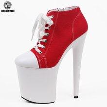 Jialuowei – baskets en toile rouge à talons hauts de 20cm, chaussures à plateforme avec lumière noire, pour la danse exotique