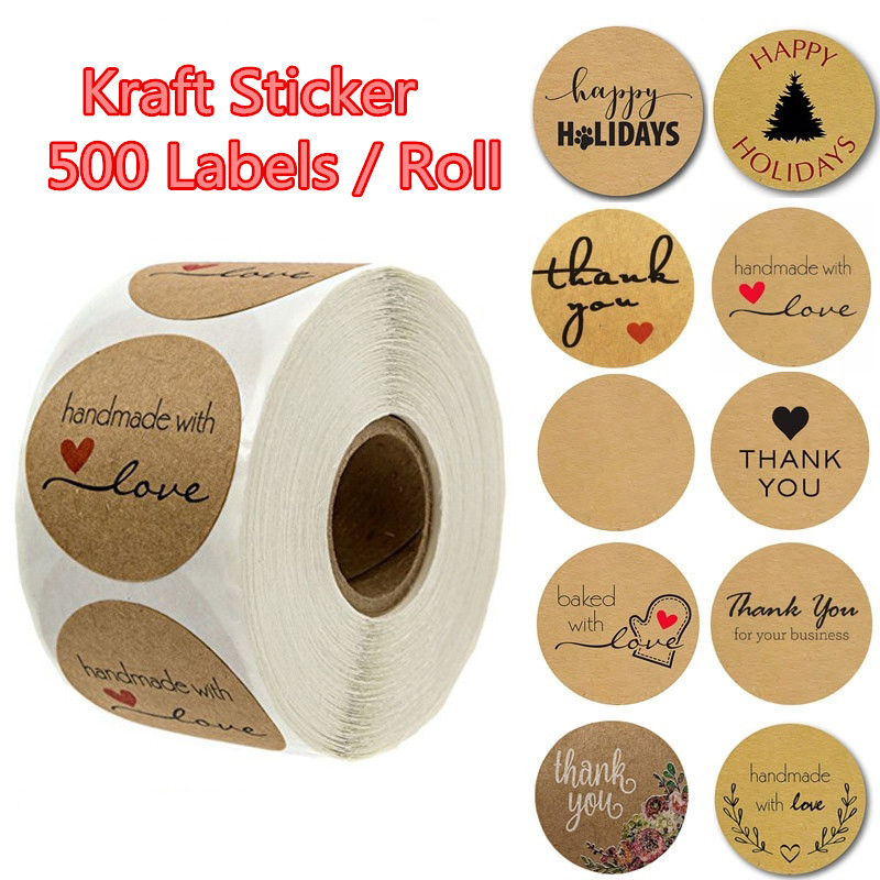 Multiple Styles 500 Labels Per Roll Round Natural Kraft Sticker Seal Labes Hand Made With Love Stickers Paper Stationery Sticker