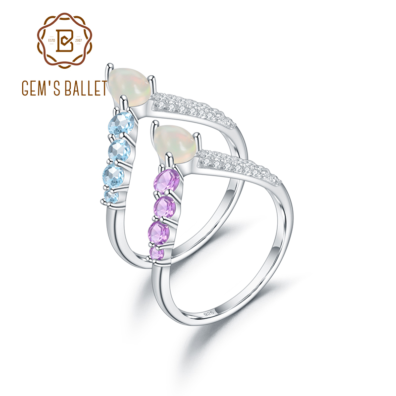 GEM'S BALLET 925 Sterling Silver Rings Crown Princess for Women Jewelry Natural African Opal Topaz Amethyst Gemstones Stack Ring
