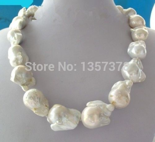 FREE SHIPPING 000287 Large 20- 26mm White Unusual Baroque Pearl Necklace