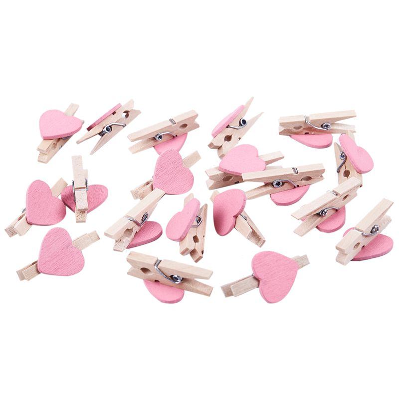 Mini Love Heart Shape Wooden Clips Message Photo Holder Album Card Paper Pegs Decor Photography - Pink 20 Pcs