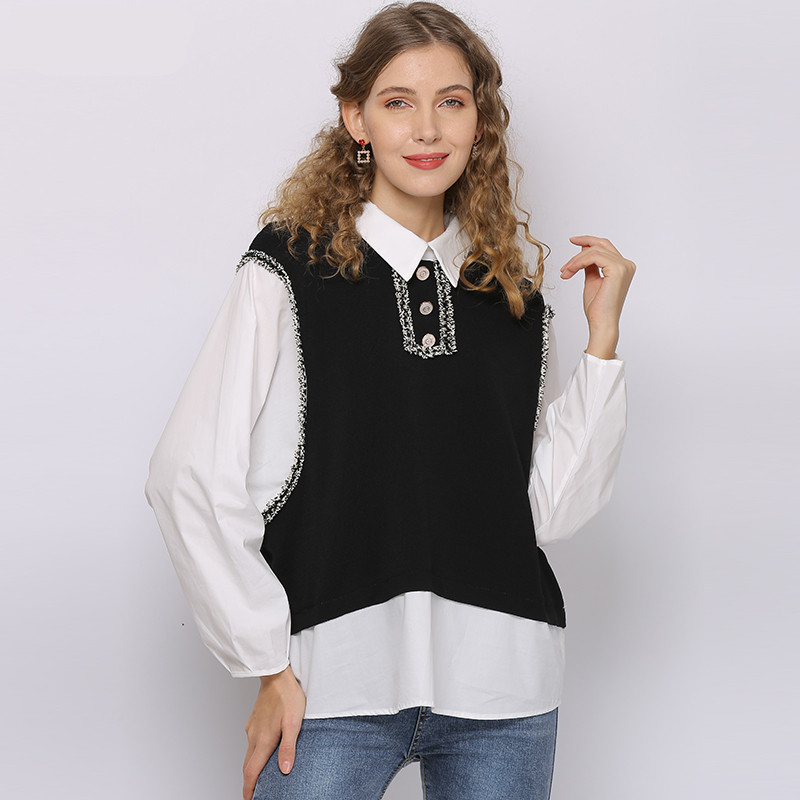 Women Retro Patchwork White Blouses 2020Long Sleeve Turn Down Collar Office Shirt Tops Plus Size Blusas Femininas D20603