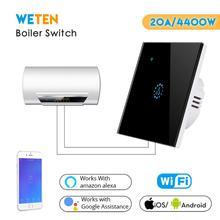 Smart Wifi Water Heater Boiler Switch EU UK 20A Black Glass Touch Switch Ewelink APP Voice Control with Alexa Google Home