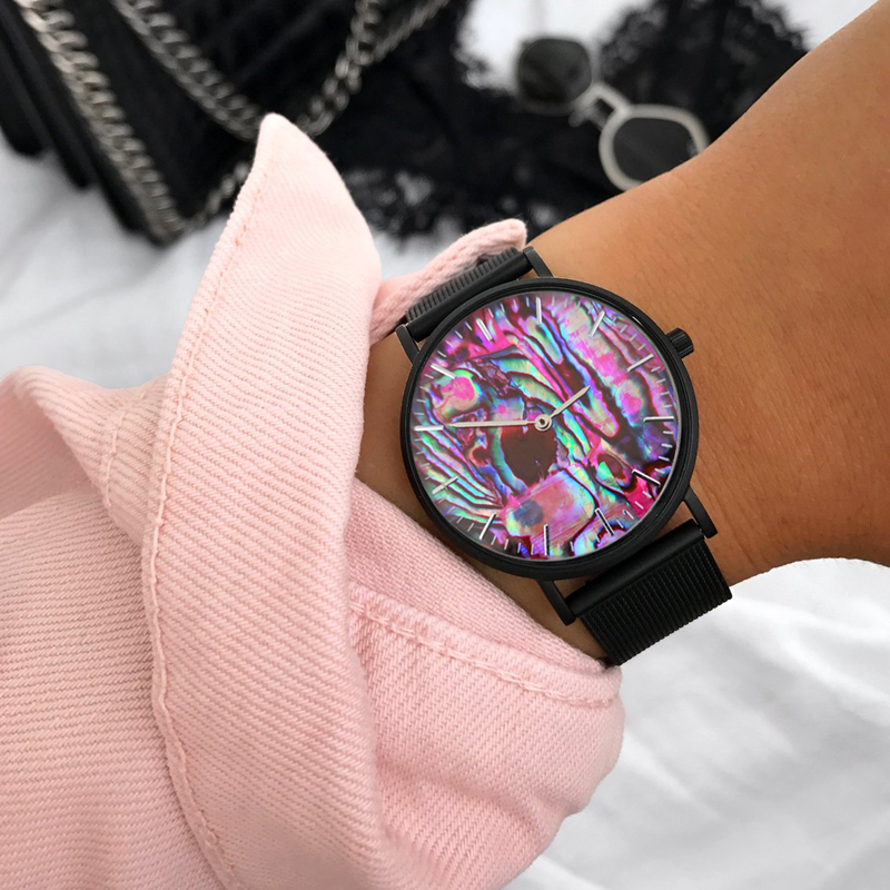 Relógio de Pulso com Malha de Aço Mavis Hare Coral Vermelho Real Abalone Escudo Inoxidável Pulseiras Preto Oceano Série Relógios