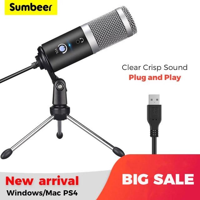 Micrófono de condensador USB para ordenador, Kit de micrófono de transmisión de Podcast, PC, 192KHZ/24 bits