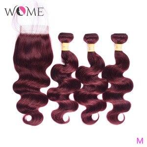 WOME бразильские волнистые пряди для тела с закрытием предварительно окрашенные омберские человеческие волосы 3 пряди с закрытием среднее со...