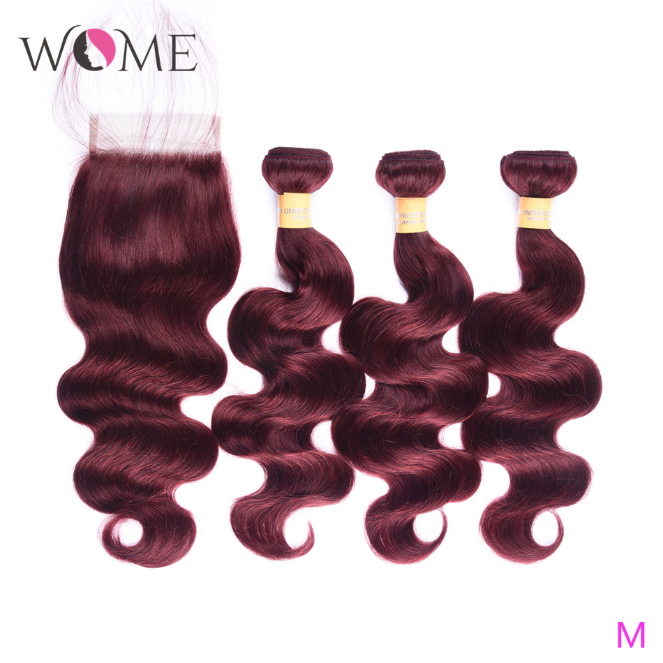 WOME Brazilian Body Wave Bundles With Closure Pre-colored Human Hair 3 Bundles With Closure Middle Ratio Non-remy 2/27/99j