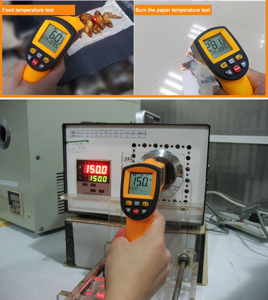 H0e72bf2dd50641b49f55cade00040a5bm RZ IR Infrared Thermometer Thermal Imager Handheld Digital Electronic Outdoor Non-Contact Laser Pyrometer Point Gun Thermometer