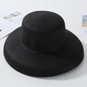 HT2303 New Summer Sun Hats Ladies Solid Plain Elegant Wide Brim Hat Female Round Top Panama Floppy Straw Beach Hat Women 11
