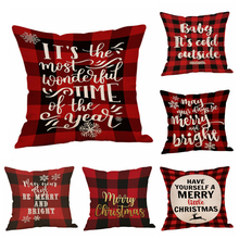 Merry Christmas Red Plaid Geometric Pillow Case Cushion Cover Linen Throw Covers Sofa Pillowcase Decoration for Home