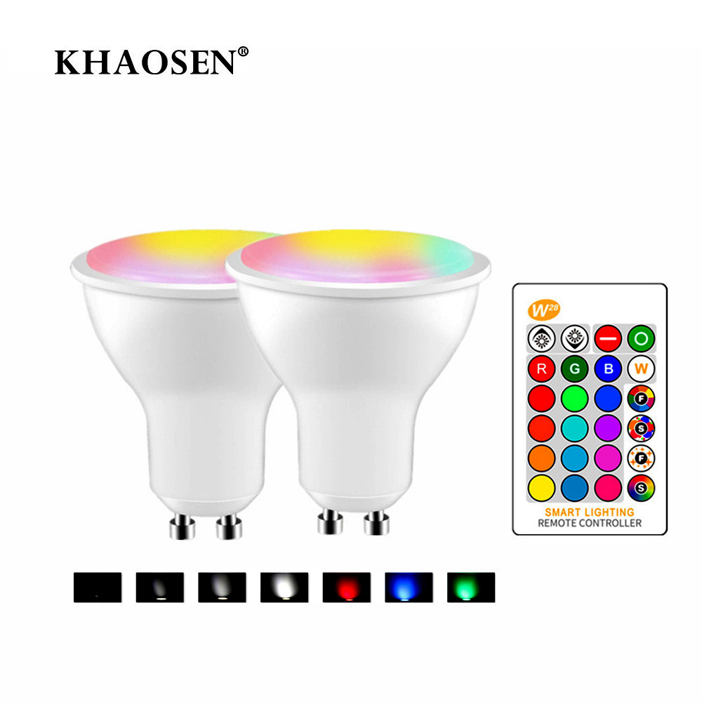 16 Colors Dimmable RGB LED Bulb 110V 220V GU10 8W Lampada RGBW Led Lamp Spotlight GU 10 Bombillas Led Light With Remote Control