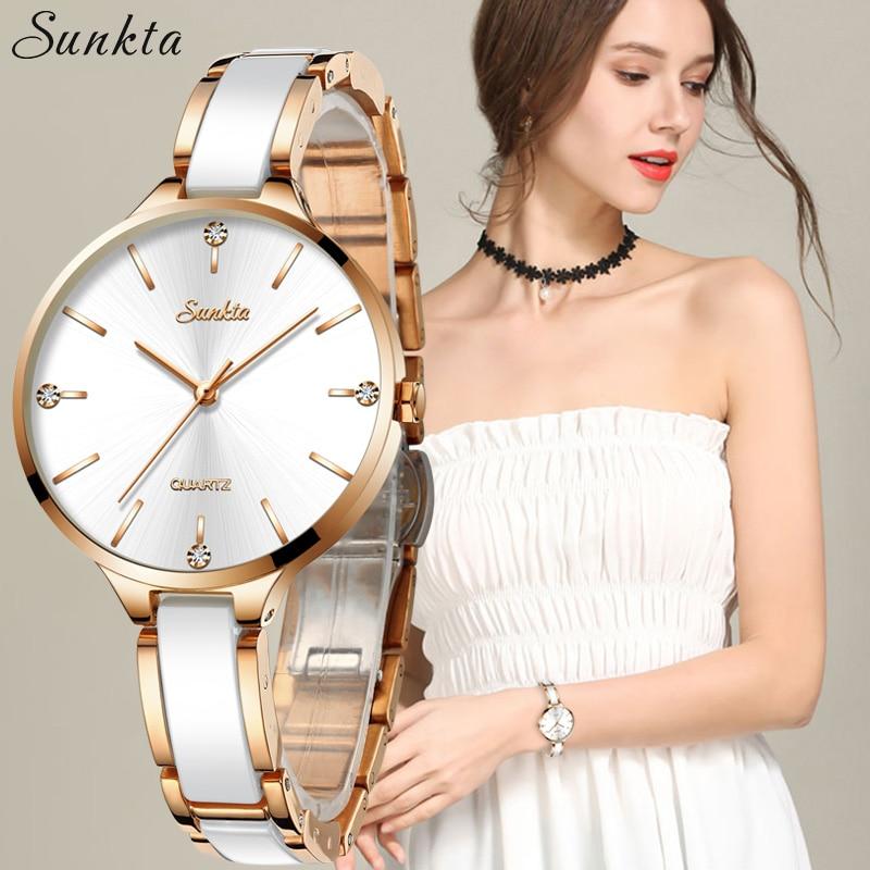 SUNKTA Ceramic Watch Clock Diamond Feminino Sport Women Waterproof Simple Casual Relogio