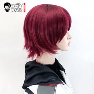 Image 4 - HSIU perruque pour Cosplay Exusiai, perruque pour Cosplay, cheveux courts bordeaux de jeu Arknights, coiffure courte rouge pour Halloween