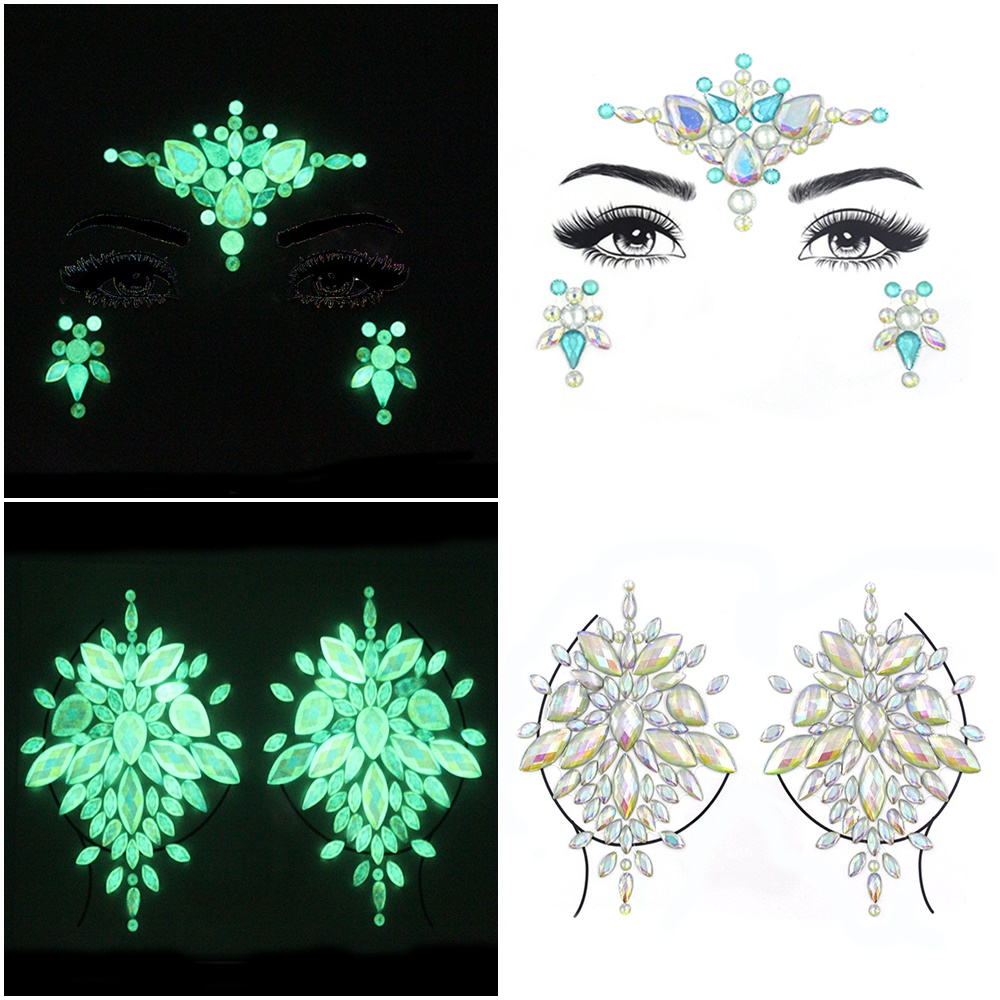 Luminous Temporary Tattoo Stickers Rhinestone Glitter Face Jewels Party Makeup Tatoo Stickers Flash In Dark Face Crystal Stick